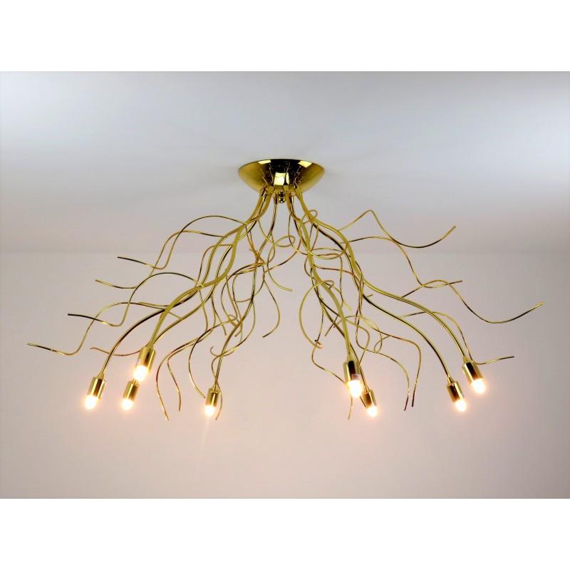 lampadario moderno con rami oro lucido