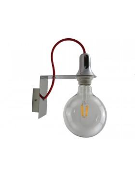 applique minimal art design moderno filo rosso lampadina globo a led filamento G125 8 watt