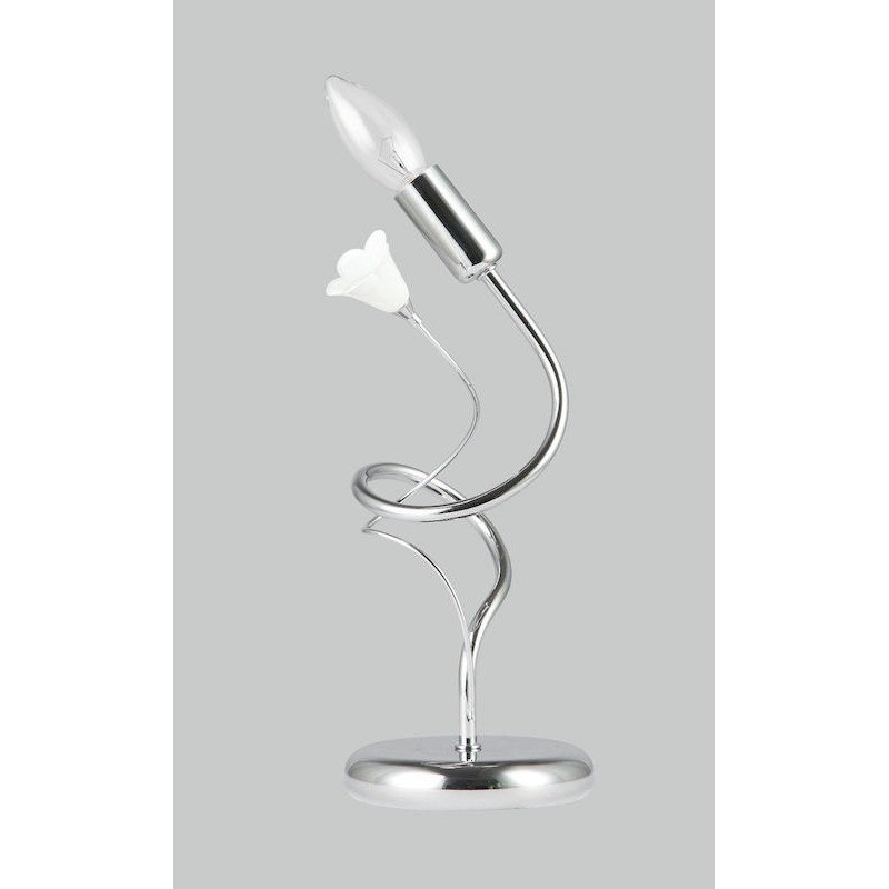 TEA L1 abatjour comodino moderno cromato fiore in vetro DIAMANTLUX.
