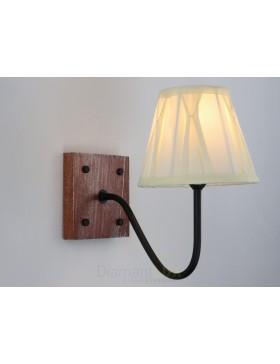 ARIEL applique rustico vintage metallo legno paralume stoffa avorio salotto camera DIAMANTLUX