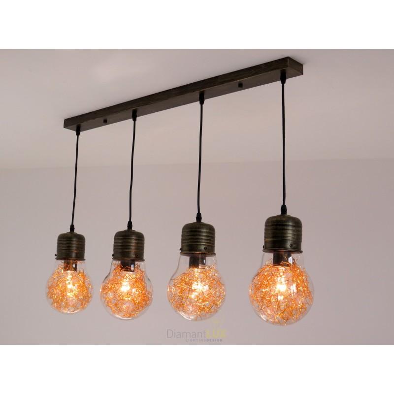 1 Luce E27 A Incasso Lampada A Sospensione Modern Industrial