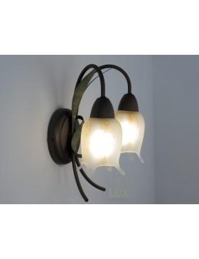 Lampada in ferro battuto da parete in ferro lunghezza 65 cm made in Italy