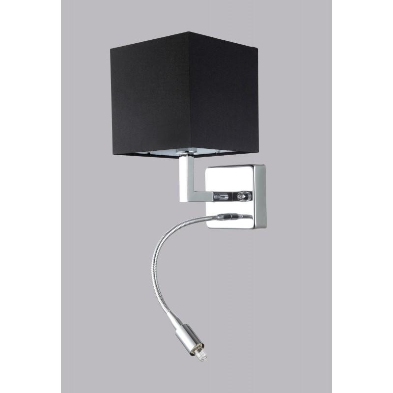 NEMO AP2 lampada da parete applique paralume cubo in tessuto nero DIAMANTLUX