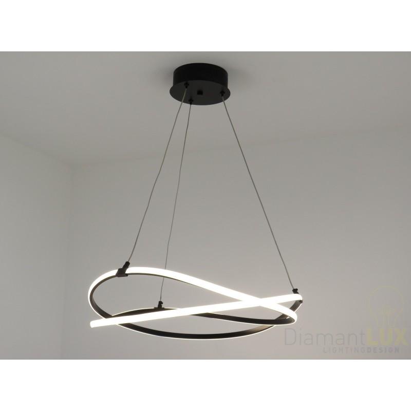 TOSCA lampadario moderno anelli cerchi led nero DIAMANTLUX