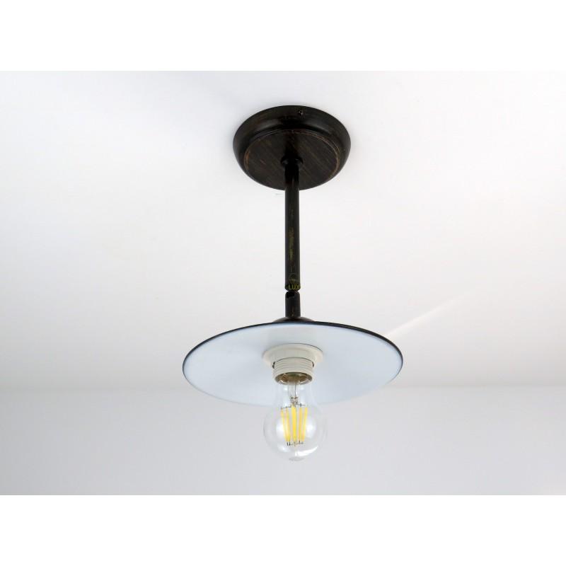 lampadario plafoniera classico rustico country ferro battuto 3 luci marrone E27