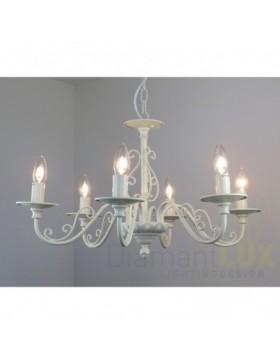 JOLE 80952 S6 lampadario fiammingo rustico avorio DIAMANTLUX