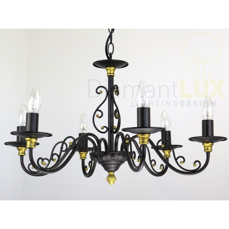JOLE 80953 S6 lampadario fiammingo rustico marrone DIAMANTLUX