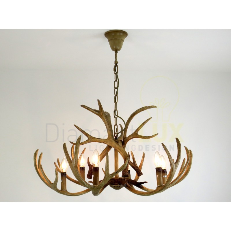 Lampadari Per Case Di Montagna.Taiga S6 Lampadario Rustico Corna Di Cervo In Resina Artigianale