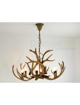 TAIGA S6 lampadario rustico corna di cervo DIAMANTLUX